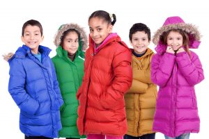 Kids wearing clean winter coats.